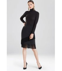 crepe fringe skirt, women's, black, size 2, josie natori