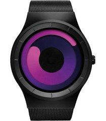 reloj hombre malla acero inoxidable sinobi 9619 rojo negro