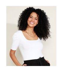 blusa feminina canelada manga bufante decote reto off white