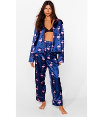 womens flamingo away satin pajama pants set - navy