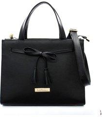 bolsa maria verônica quadrada laço couro cor preto 5129