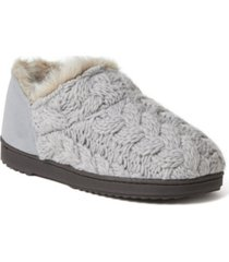 dearfoams women's hayden chunky cable knit bootie slippers