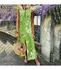 zanzea vestido de cóctel floral mujeres corte largo del partido bajo maxi vestido de tirantes beach -verde