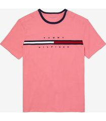 tommy hilfiger men's adaptive organic cotton logo stripe t-shirt tropic rose - xxl
