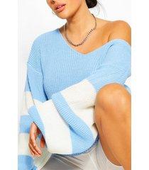 plus gestreepte trui met v-hals, blauw