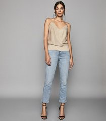 reiss bailey - mid rise straight jeans in light wash, womens, size 32