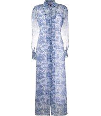 staud embroidered sheer shirt dress - blue