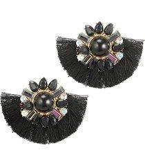aretes flor flecos negro ar -12016