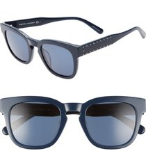 women's rebecca minkoff imogen2 49mm studded sunglasses - teal/ blue avio