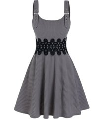 lace panel buckle strap knitted cami a line dress
