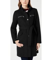 vince camuto belted zip-pocket coat