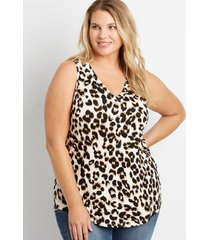 maurices plus size womens 24/7 leopard v neck tank top white