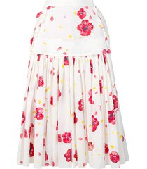 marni poppy print skirt - white