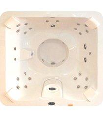 banheira spa hidromassagem j185 vip com 32 jatos 180x180x089cm para 4 pessoas com aquecedor, cromo led e fechamento - jacuzzi® - jacuzzi®