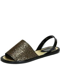 sandalia teodora's avarca dourado/preto