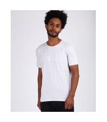 "camiseta masculina new york"" manga curta gola careca cinza mescla claro"""