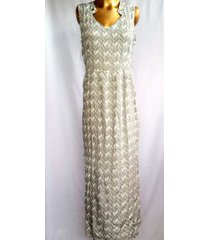 vestido largo wow! blanco/azul