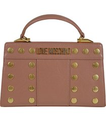 love moschino logo plaque studded top handle tote