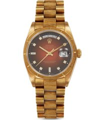 rolex day-date oyster perpetual diamond 18k yellow gold watch