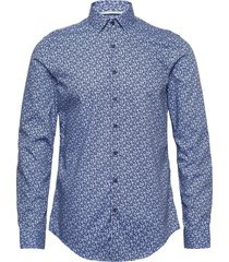 flower print slim shirt overhemd business blauw calvin klein