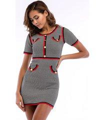vestido de punto de manga corta con botones de costura de vestido mujer