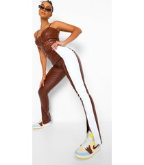 nepleren colour block broek met split, chocolate