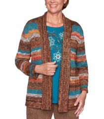 alfred dunner petite walnut grove stripe point open-front cardigan
