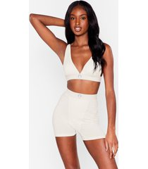 womens mouth off bralette and boxer shorts set - cream