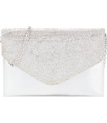 embellished metallic convertible envelope clutch