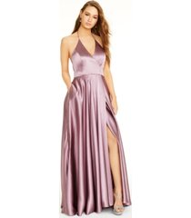 blondies nites side-slit halter gown