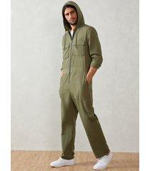 moda hombre cremallera frontal manga larga con capucha casual mono