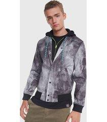 chaqueta desigual gris - calce regular