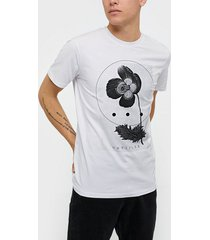 selected homme slhpima print ss o-neck tee b ex t-shirts & linnen bright white