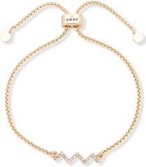 dkny gold-tone crystal zigzag bolo bracelet