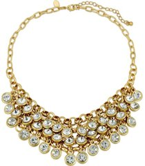 2028 gold-tone crystal cluster bib necklace