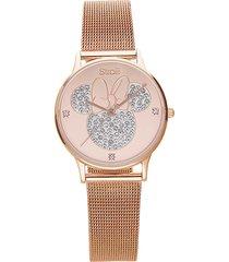 orologio solo tempo con cinturino maglia milanese e cassa in acciaio rosato, quadrante con minni con strass per donna