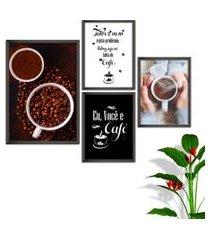 kit conjunto 4 quadro oppen house s frases eu você e café lojas cafeteria xícaras grãos moldura preta decorativo interiores    sem vidro