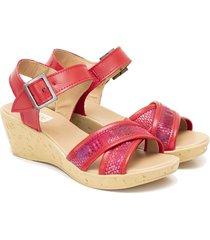 sandalia de cuero roja valentia calzados brenda yamila