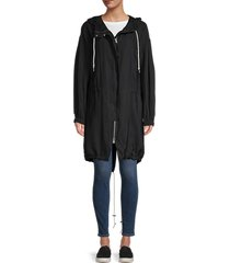 allsaints women's calla hooded parka - black - size xs