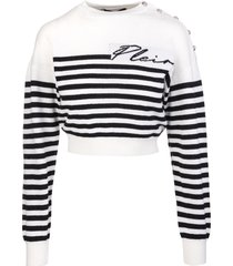 philipp plein woman white and black mariner cashmere pullover