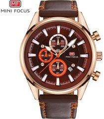 reloj para hombre/correa de piel/ mini focus / 0083g-marrón