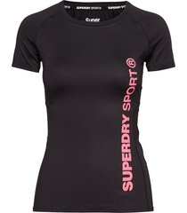 core fitted mesh panel tee t-shirts & tops short-sleeved svart superdry sport