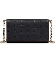 mcm visetos leather wallet on a chain in black at nordstrom