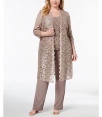 r & m richards 3-pc. plus size sequined lace pantsuit & shell