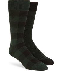 men's polo ralph lauren 2-pack buffalo check & stripe slack socks, size one size - green