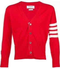thom browne 4-bar short cashmere cardigan - red