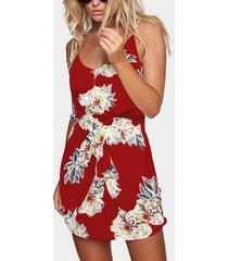 tirantes sin mangas con cintura elástica y estampado floral al azar vestido en rojo