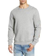 men's billy reid dover crewneck sweatshirt with leather elbow patches, size medium - grey