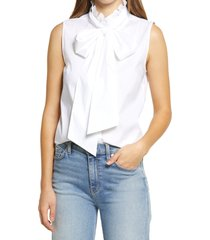 halogen(r) sleeveless tie neck blouse, size x-large in white at nordstrom