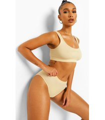second skin geborstelde wide apex bralette, nude
